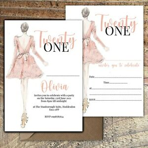BIRTHDAY INVITATIONS 21st Fashion Party Personalised or Blank Any Age PK 10