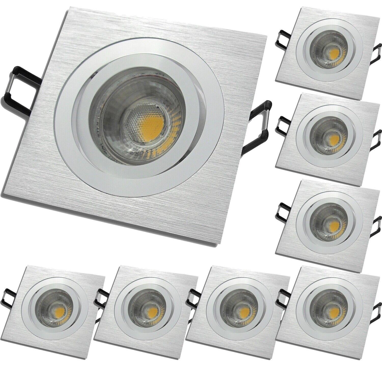 8 Stück   LED Einbauleuchten Mia   Dimmbar   220Volt   7Watt   Gu10   Aluminium