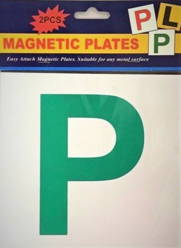 2 x PIECE MAGNETIC P PLATE CAR LEARNER SIGN STICKERS ***Multi-Buy Discount***