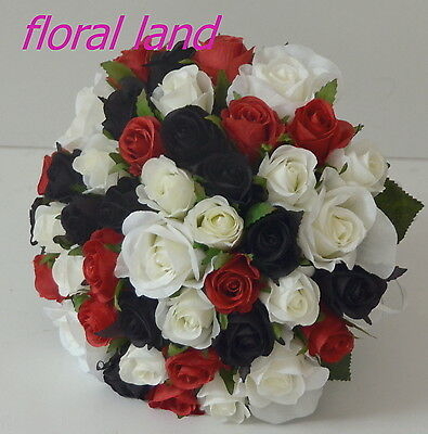 SILK WEDDING BOUQUET BLACK RED WHITE ROSE BRIDAL POSY ROSES FLOWER ST KILDA 25CM