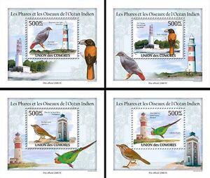 Comoros Comores 2009 MNH Lighthouses & Birds Indian Ocean 4x 1v Deluxe SS Stamps