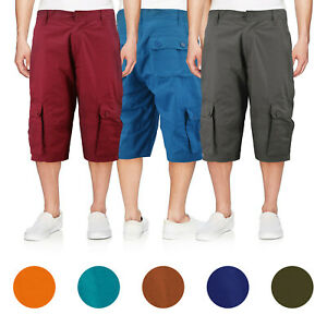 Men-039-s-Cotton-Cargo-Shorts-Relaxed-Fit-With-Multiple-Button-Flap-Pockets