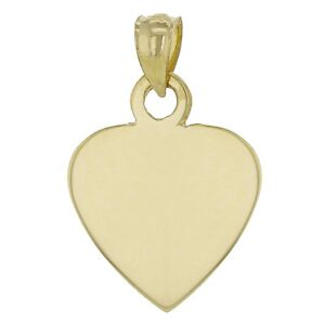 14k-Yellow-Gold-Solid-Plain-Flat-Engravable-Heart-Charm-Pendant-2-8g