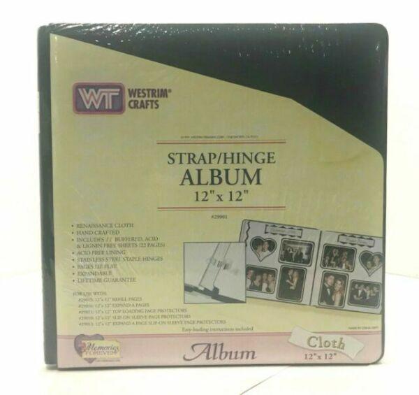 New Westrim Crafts 12 x 12 Strap Hinge Cloth Scrapbook Album Green Expandable