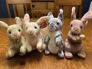 Lot Of 4 Ty Beanie Babies Easter Bunny Rabbits NIBBLY NIBBLER HOPPER & SPRINGY