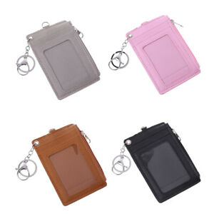 Portable Leather Business ID Card Credit Badge Holder Coin Purse Wallet Keychain