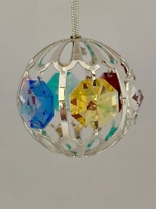 Crystal-Ball-FIGURINE-ORNAMENT-SILVE-PLATED-WITH-MULTI-COLOR-AUSTRIAN-CRYSTAL
