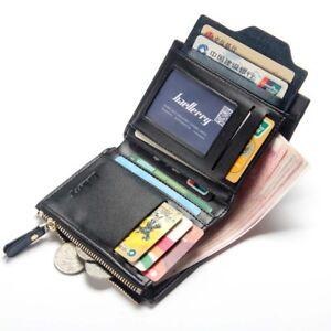 HOMME-EN-CUIR-DEUX-VOLETS-Portefeuille-Porte-monnaie-ID-carte-de-credit-titulaire-Court-argent-clip