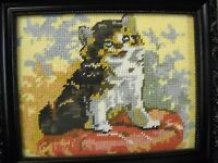Completed Needlepoint Kitty Cat On Pillow Wood Framed Picture 9 X 11 Finished