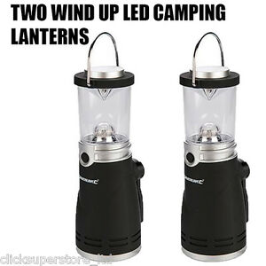 TWO-WIND-UP-LED-LANTERN-LAMP-LIGHT-TORCH-CAMPING-CARAVAN-BOAT-EMERGENCY-S56X2