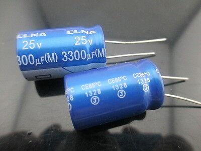 4pcs Japan ELNA RE3 3300UF 25V 3300mfd Audio Capacitor 16X25mm