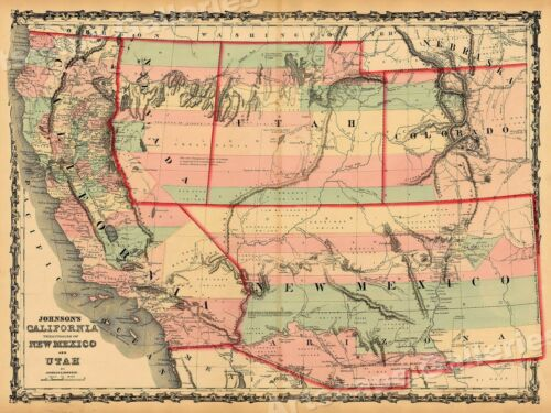 """20x28 1860s """"Johnson's Map of California"""" Vintage Style Territorial Map"""