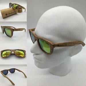 Men's Handcrafted Zebra Wood Frame Gold Mirror TAC Polarized Sunglasses 100% UV