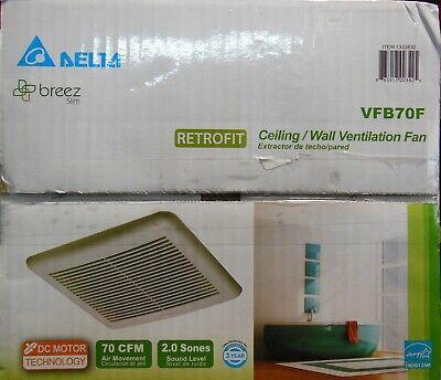 New Delta Breez Slim Retrofit Ventilation Fan VFB70F 70 CFM 2.0 Sones Sound
