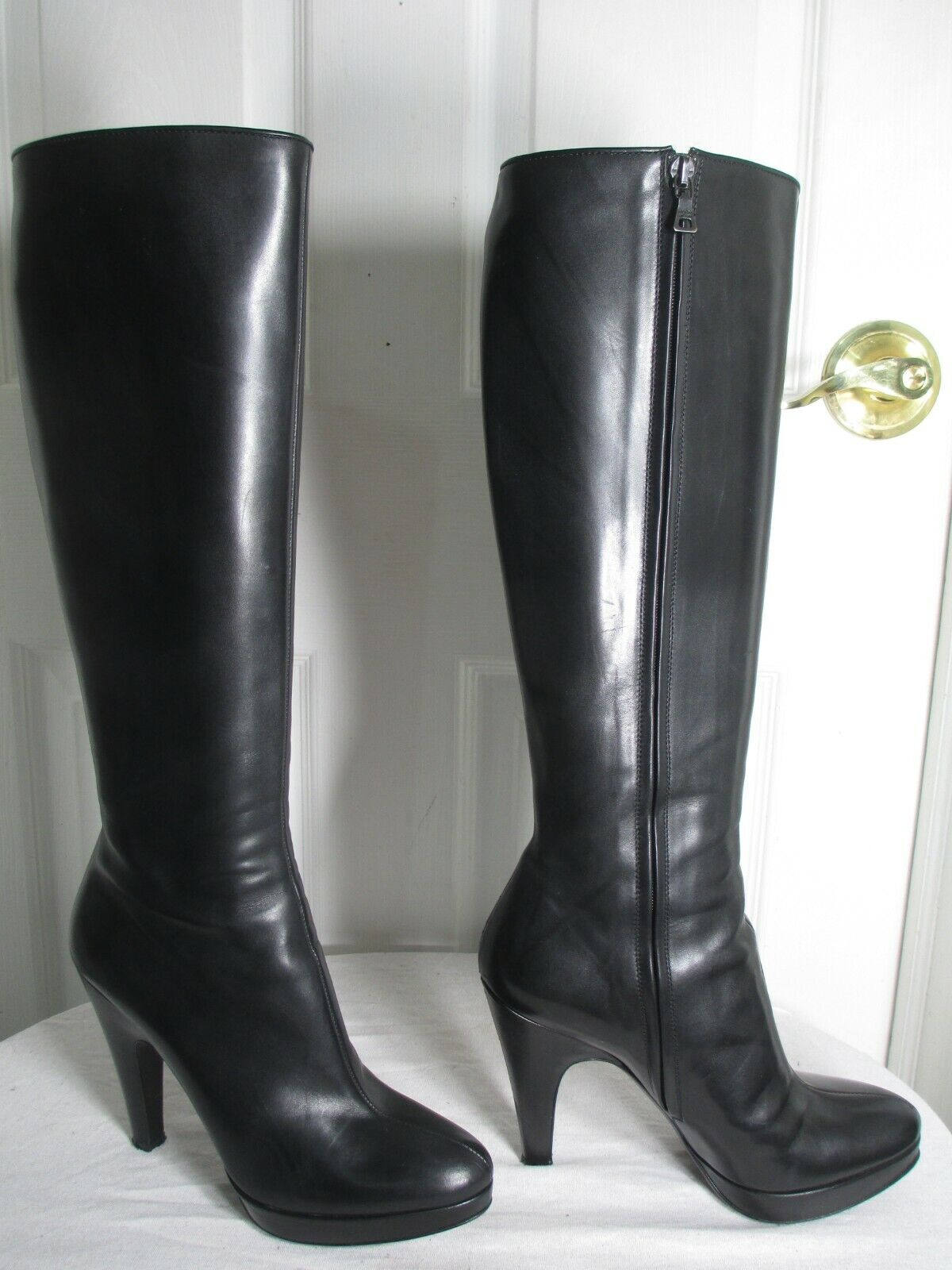 PRADA LUXE BLACK LEATHER HEEL PLATFORM TALL ZIP BOOTS 37½ US 7½ M MADE IN ITALY