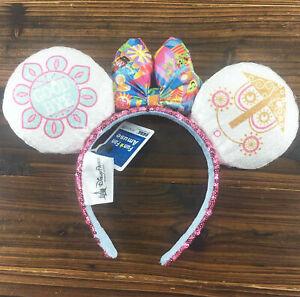 2pcs Disney Park Mickey Sequin Minnie Ears it/'s a small world Clock Bow Headband