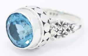 Handmade-Sterling-Silver-925-Plumeria-Flower-Ring-w-Genuine-Round-Blue-Topaz