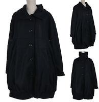 Manteau Femme Grande Taille Ample Noir Hiver Chaud Laine 40% Bouillie Romanov