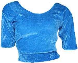 Hellblau Samt Top Choli Oberteil für indischer Sari Bollywood Gr. S bis 3XL