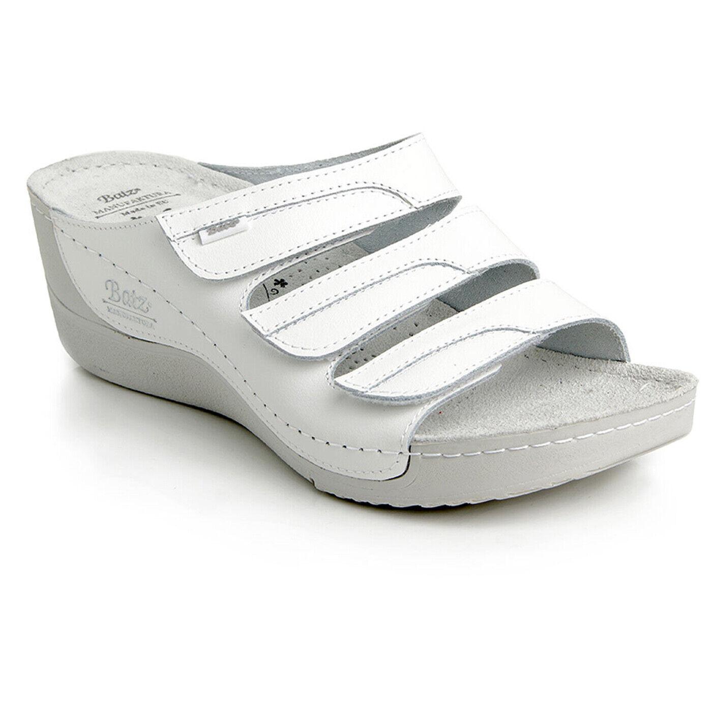 Sandalias De Cuero blancoo Batz Olga Hecho a Mano Zuecos Mulas Mujer Reino Unido
