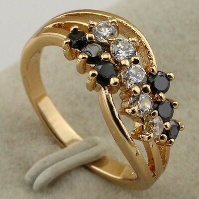 Rj1318 marvelous White&black Gift fashion Jewelry gold filled ring size 6 7 8
