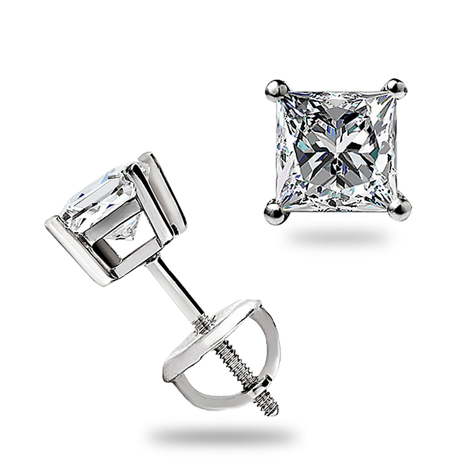 1 ct princess cut earrings 1 10 ct princess cut solitaire lab stud earrings solid 14k 3537