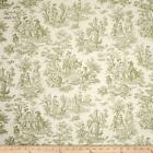 Toile in Sage Green on Cream Cotton Upholstery Fabric By The Yard 54