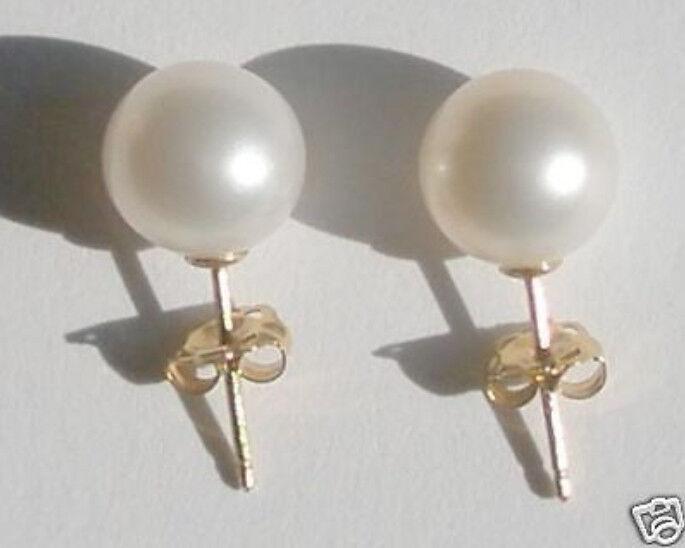 9-9.5MM White AAAA South Sea Pearl Earrings 14k gold Stud