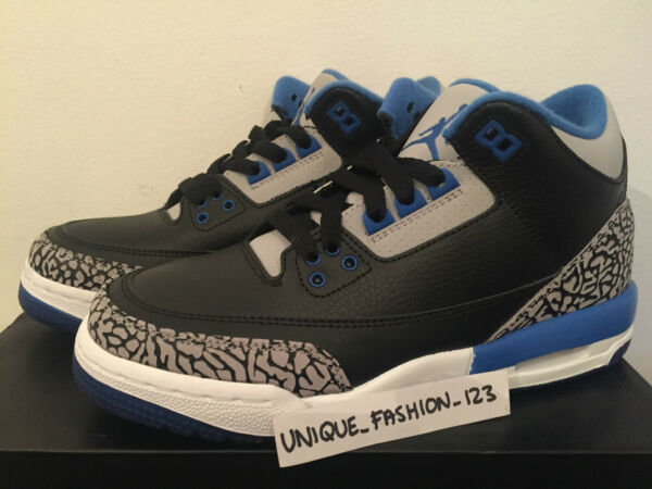 2014 Nike Air Jordan Rétro 3 Iii Nero Sport Blu Gs Usa 5.5y Uk 5 38 Cemento