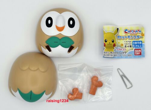 Bandai Pokemon Capchara Gashapon Figure Pikachu Eevee Piplup Rowlet Set 4 pcs