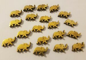 20 Pcs VTG Metallic Gold & Wood Elephant Shaped Beads Charms for Crafts, Jewelry