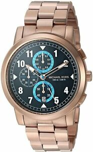 Details about Michael Kors Paxton Chronograph Blue Sunray Dial Rosegold Steel Men Watch MK8550