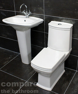 Diana Art Deco Style Bathroom Suite Basin Sink Toilet Wc Set Soft Close Seat Ebay