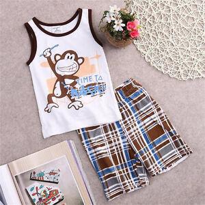 8830f2dff Toddler Kids Baby Boys Summer Outfits T-shirt Tank Tops+Pants 2pcs ...