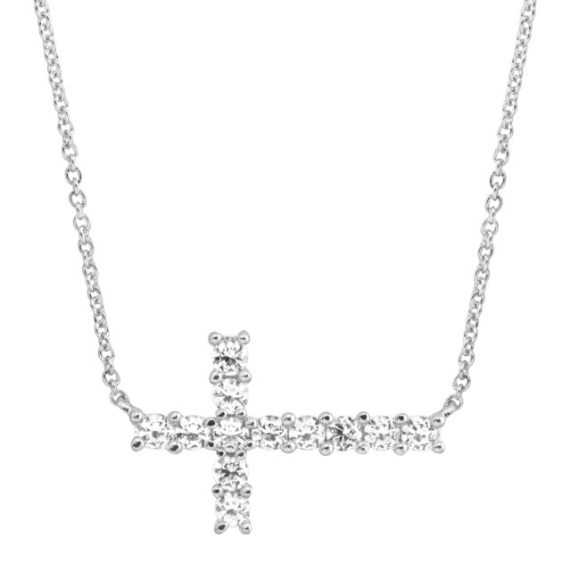 Sterling Silver Rose Gold Womens Horizontal Cross White Crystals CZ Pendant