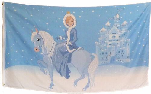 castello ragazze 1,5x0,9m Motivo Bandiera Bambini Bandiera EISPRINZESSIN su cavallo