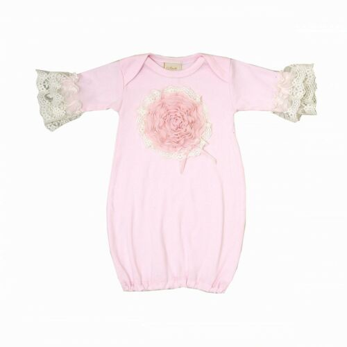 Exclusive PICTURE PERFECT Haute Baby Boutique Newborn Girls Gown PINK LULLABYE