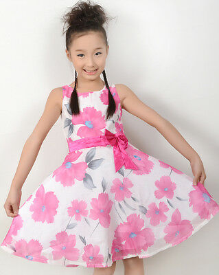 Sunny Fashion Child Clothing Pink Flower Bow Tie Party Girls Dress Size 4-12