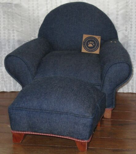 VINTAGE BOYDS COLLECTION DENIM /& RED CHECK PIPING UPHOLSTERED CHAIR /& OTTOMAN