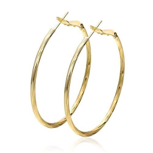 Femmes Ear Clip Boucles D/'oreilles 18K or jaune rempli Fashion Jewelry 48 mm