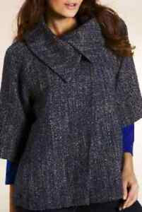 Wool M Blend Sz Collar Sleeve £79 Una 4 Large Blue Per Coat Mix 3 Bnwt amp;s 14 rYxq4tXUrw