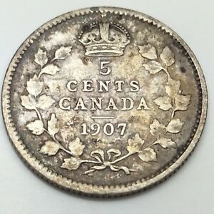 1907-Canada-Small-5-Five-Cents-Silver-Circulated-Canadian-Coin-D459