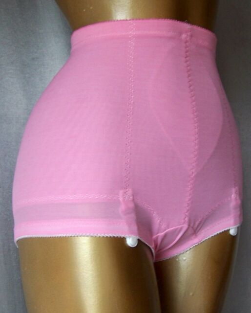 SCULPTING PINK Vintage 1970s GIRDLE BRIEF SHAPER PANTIES w/GRTS - sz LRG