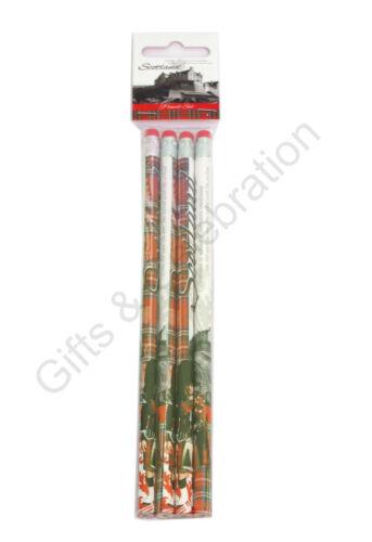 Scotland Pencil Tartan Pen  Set of 4  Gift Souvenir School Pencils