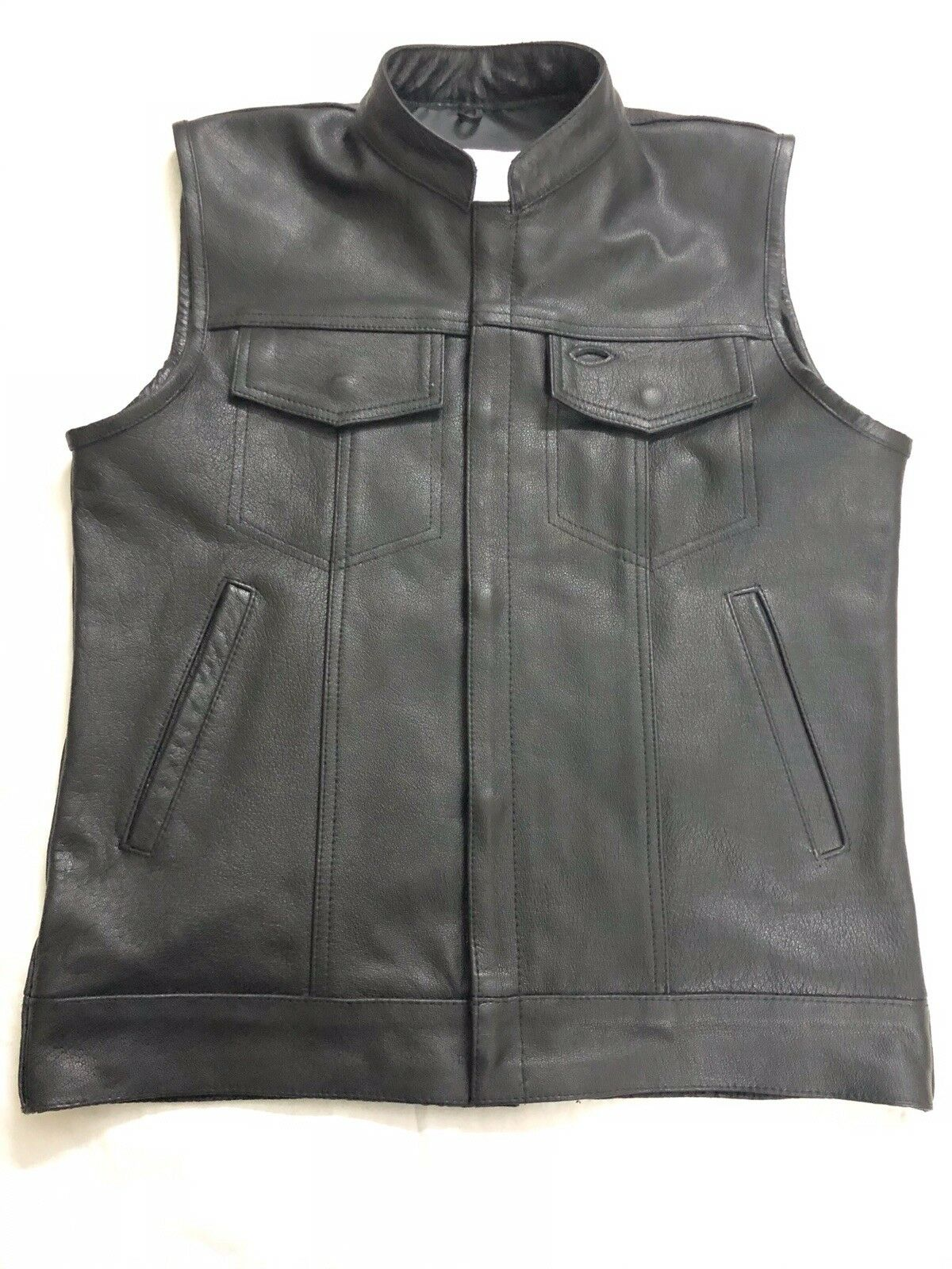 SOA men's Anarchy high quality soft Leather Vest Motorcycle Biker Club