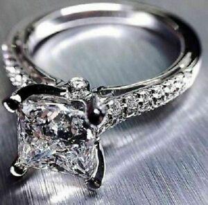 Real-10k-White-Gold-3-75ct-Princess-amp-Round-Cut-Diamond-Engagement-Wedding-Ring