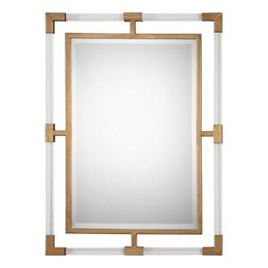 Lucite And Antiqued Gold Leaf Iron Mirror Jonathan Adler