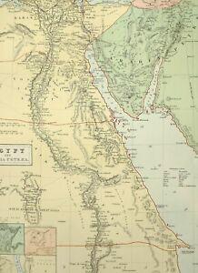 1876 Antik Landkarte ~ Ägypten Arabien Petraea Bahari Alexandria Cairo Vostani