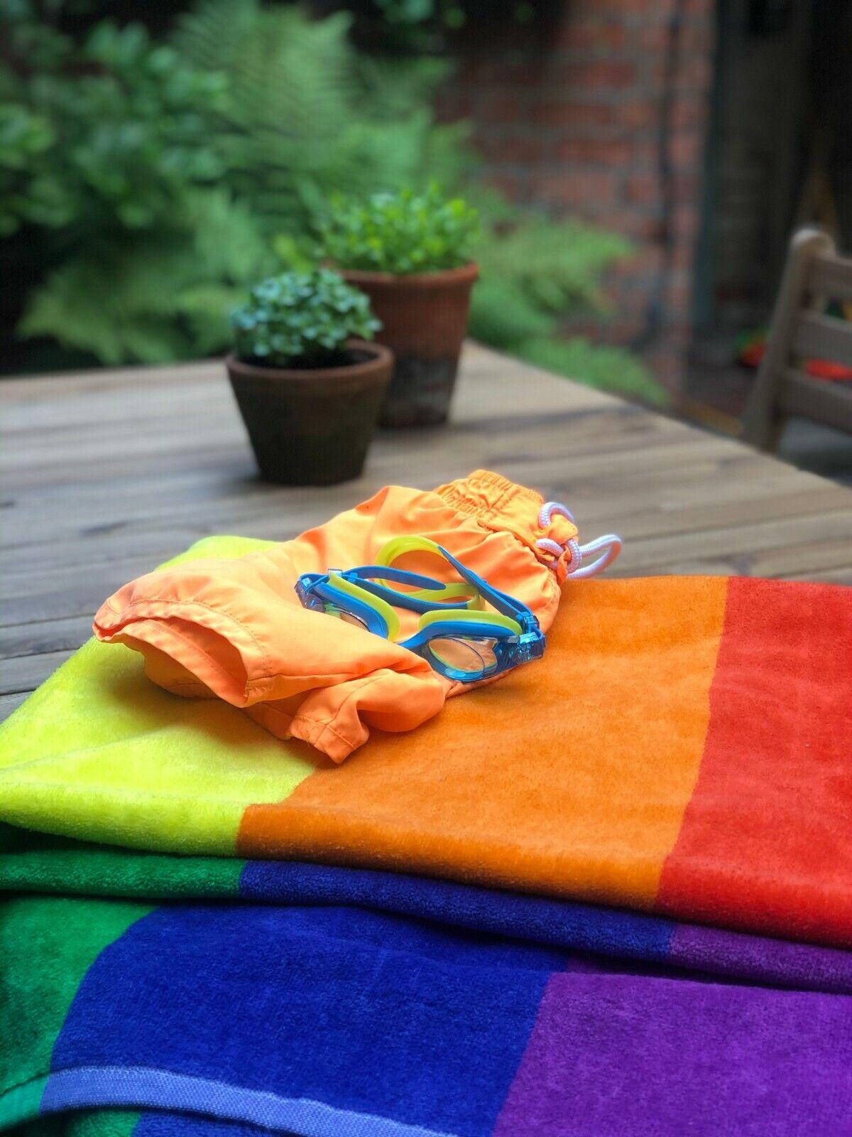 Rainbow Striped Beach Towel Jumbo 100 x 180cm Supersoft 100% Cotton Luxury Pride
