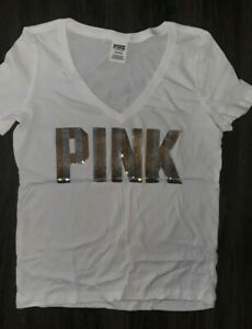 VS PINK Bling Silver Sequin Logo Perfect V Neck Tee T-shirt Black Gray Zebra S